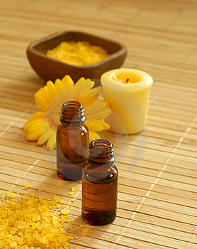 Bottle Of Essence Oil, Bath Salt And Flower Stock Photography - Image: 10172152