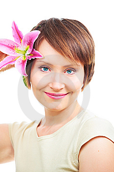 Positive Woman With Flower Royalty Free Stock Photo - Image: 10172365