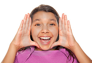 Pretty Hispanic Girl Framing Her Face With Hands Royalty Free Stock Photo - Image: 10172735