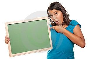 Pretty Hispanic Girl Holding Blank Chalkboard Stock Photo - Image: 10172780