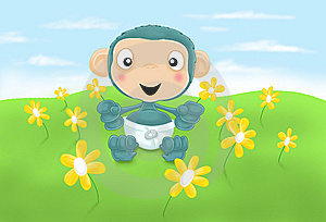 Baby Chimp With Flowers Royalty Free Stock Image - Image: 10179156