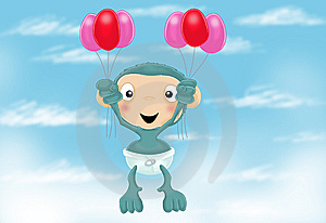 Baby Chimp With Balloons Royalty Free Stock Photography - Image: 10179207