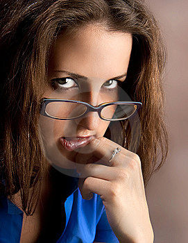Young Beautiful Teacher Wearing Glasses Royalty Free Stock Photography - Image: 10180727