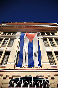 The Flag Of Cuba On A Building Royalty Free Stock Image - Image: 10180826