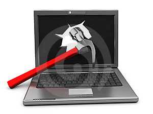 Laptop With Hammer Royalty Free Stock Photos - Image: 10184678
