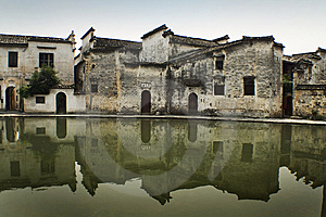 Ancient Chinese Buildings Reflected On Water Royalty Free Stock Photo - Image: 10186435
