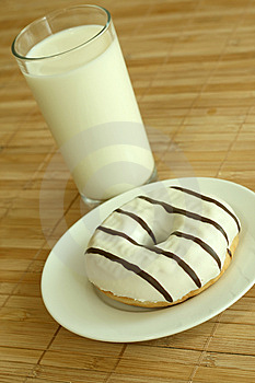 Breakfast. Glass Of Milk And Donut. Stock Photos - Image: 10190943