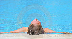 Woman Relaxing In Blue Outdoor Swimming Waterpool Stock Images - Image: 10191574