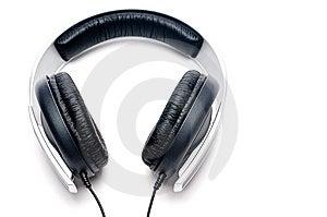 Headphones With Black Leather Padding Stock Image - Image: 10193131