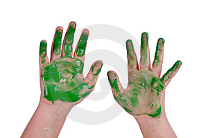 Horizontal Image Of A Child's Hands In Green Stock Photo - Image: 10193230