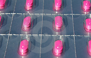 Blister Pack Of Pink Pills Royalty Free Stock Photos - Image: 10195038