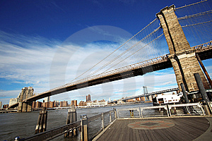 Classical NY - View To Brooklyn Bridge Stock Image - Image: 10196911