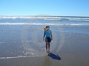Little Girl And The Beach Stock Photo - Image: 1023800