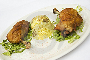 Chicken Legs With Rice Garnish Stock Photography - Image: 10200082