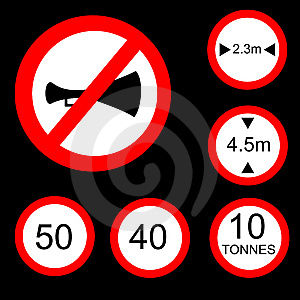 Six Round Prohibitory Road Signs Set 2 Royalty Free Stock Photo - Image: 10201325