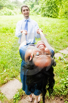 Happy Joyful Couple Having Fun Outdoor Stock Images - Image: 10201754