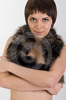 Perky Girl Hugs You And Holds Fur Stock Image - Image: 10201861