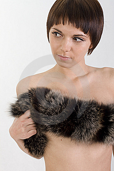 Perky Girl Hugs You And Holds Fur Royalty Free Stock Images - Image: 10201899