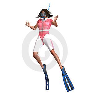 Female Diver With Snorkel Stock Photo - Image: 10210030