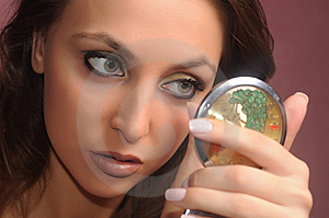 Girl Holding Mirror Royalty Free Stock Images - Image: 10210459