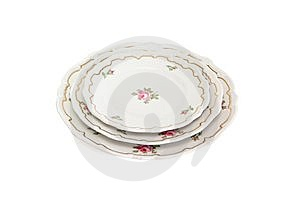 Stack Of Three White Plates And Saucers Stock Images - Image: 10212084