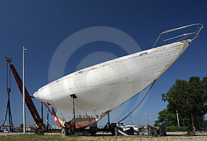 Sea Yacht In Repair Shipyard Royalty Free Stock Photos - Image: 10218368