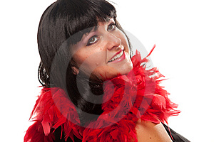 Pretty Girl With Red Feather Boa Royalty Free Stock Photos - Image: 10219728