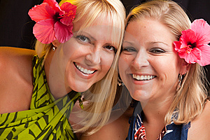Beautiful Smiling Girls With Hibiscus Flower Royalty Free Stock Photos - Image: 10219748