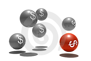 Isolated Spheres With Dollar Symbol Stock Photo - Image: 10220230
