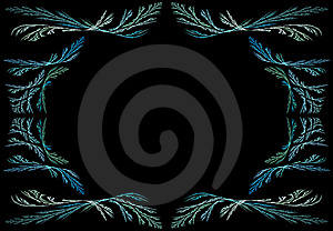 Leafy Aqua Fractal Frame With Black Copy Space Royalty Free Stock Image - Image: 10220736