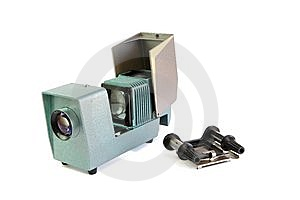 Vintage Side Projector With Film Holder Isolated Royalty Free Stock Photo - Image: 10223535
