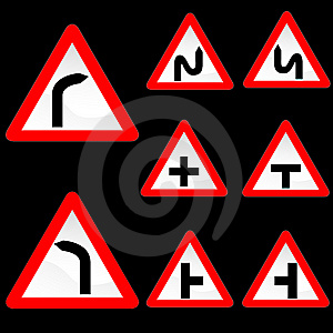 Eight Triangle Shape Red White Road Signs Set 1 Stock Image - Image: 10226571