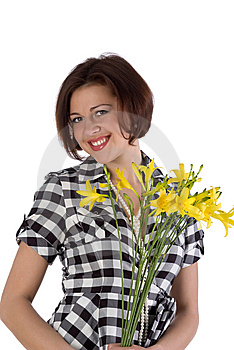 Pretty Woman With Flowers Royalty Free Stock Images - Image: 10231019