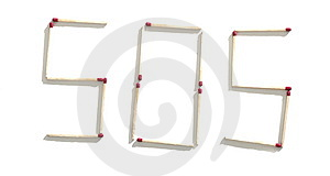 Matchstick SOS Royalty Free Stock Photography - Image: 10233877