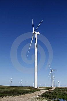 Wind Turbine On Dirt Road Stock Image - Image: 10234081