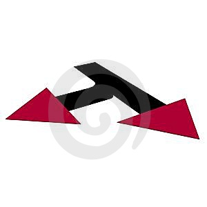 Dart Of The Red Direction Downwards Stock Photography - Image: 10236702