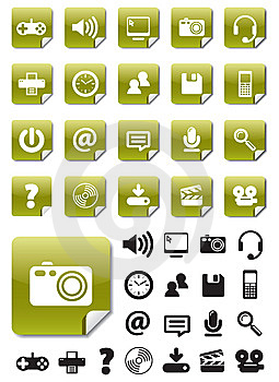 Media Icons On Green Stickers Stock Image - Image: 10238281