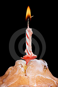 Cake With Candle Fire Royalty Free Stock Photos - Image: 10238598