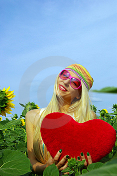 Beautiful Blonde In Pink Glasses Stock Image - Image: 10239391
