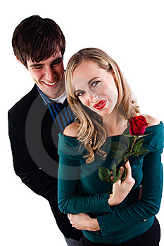 Happy Couple With Rose Royalty Free Stock Photo - Image: 10239425