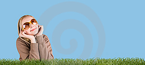 Happy Woman In Grass On A Meadow Stock Photography - Image: 10241682
