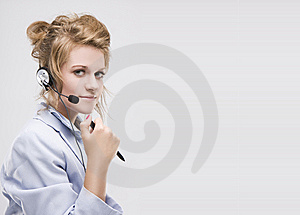 Woman Wearing Headset Isolated Royalty Free Stock Photo - Image: 10246775