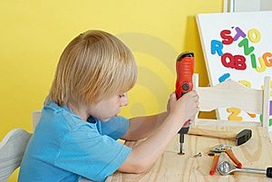 Little Boy On Creative Lesson Royalty Free Stock Photo - Image: 10247005