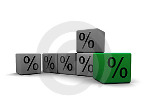 Cubes With Percent Symbols Stock Photos - Image: 10247563