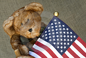 Stuffed Toy Bear Holding A Flag Royalty Free Stock Image - Image: 10248396