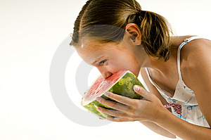 Young Girl Eating A Watermelon Stock Photos - Image: 10255283