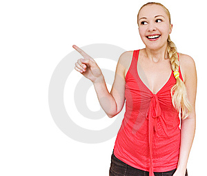 Smiling Woman Pointing Towards Copyspace Royalty Free Stock Photography - Image: 10256207