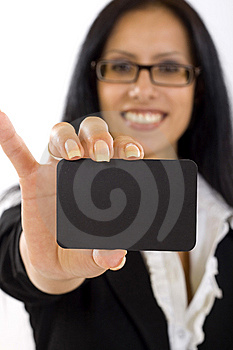 Attractive Businesswoman Holding A Blank Card Stock Images - Image: 10267344