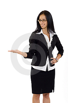 Attractive Businesswoman Presenting Something Royalty Free Stock Photos - Image: 10267558