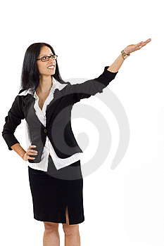 Attractive Businesswoman Presenting Something Royalty Free Stock Photo - Image: 10267835